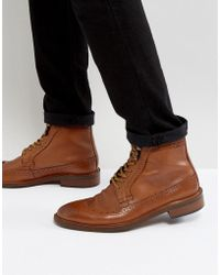 Dune - Pebble Brogue Boots In Tan - Lyst