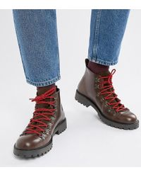 ASOS - Wide Fit Hiker Boot In Brown Leather With Flecked Laces - Lyst