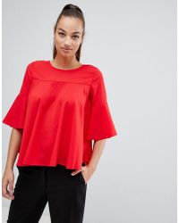 AX Paris - Frill Sleeve Top - Lyst
