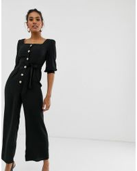 d07aee5080bb ASOS - Square Neck Puff Sleeve Jumpsuit With Button Detail - Lyst