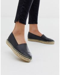 Office - Lucky Black Leather Flat Espadrilles - Lyst