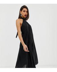 ASOS - Backless Halter Pleated Midi Dress - Lyst