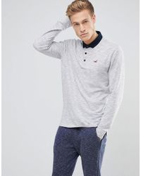 Hollister - Long Sleeve Pique Polo Contrast Collar Seagull Logo In Grey - Lyst