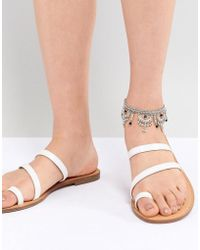 ASOS - Design Engraved Cut Out Ball Charm Anklet - Lyst
