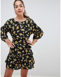 Miss Selfridge - Tea Dress With Ruffle Sleeves In Floral Print - Lyst