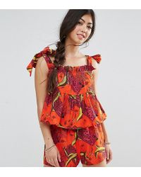 ASOS - Tropical Print Top Co-ord - Lyst