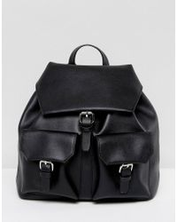 Glamorous - Black Backpack With Pocket Detail - Lyst