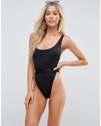 ASOS - Recycled High Leg Elastic Waist Swimsuit - Lyst