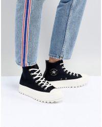 Converse - Chuck Taylor All Star Hi Lift Ripple Sneakers In Black - Lyst c4358017b