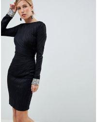 Jovani - Textured Midi Dress With Encrusted Cuffs - Lyst