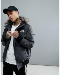 The North Face - Gotham Bomber Jacket With Detachable Faux Fur Hood In Grey - Lyst