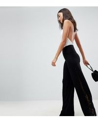 ASOS - Trousers With Lace Insert - Lyst