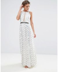 True Decadence - Printed Maxi Dress With Eyelet Detail Waist - Lyst