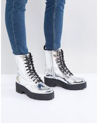 Monki - Metallic Lace Up Biker Boot - Lyst
