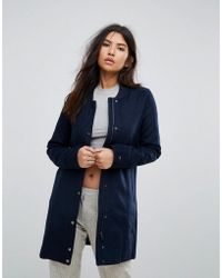 Hilfiger Denim | Longline Wool Blend Popper Coat | Lyst