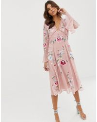 ASOS Embroidered Midi Dress With Lace Trims - Pink