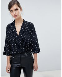 River Island - Body With Cross Front In Polka Dot - Lyst
