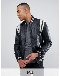 Barneys Originals - Tall Real Leather Varsity Jacket With Panelling - Lyst