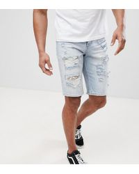 ASOS - Asos Tall Denim Shorts In Slim Light Wash With Heavy Rips - Lyst