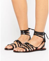 Pull&Bear - Stud Detail Leather Sandals - Lyst