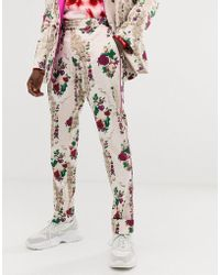 ASOS - Skinny Suit Trousers In Cream Floral Jacquard - Lyst