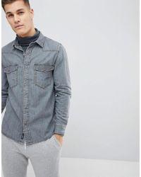 Mango | Man Denim Shirt In Grey | Lyst