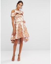 Chi Chi London - Chi Chi High Low Skirt Co-ord In Rose Gold Jacquard - Lyst