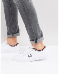 Fred Perry - Kendrick Canvas Plimsolls In White - Lyst