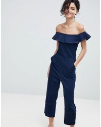 2nd Day - 2ndday Off Shoulder Jumpsuit In Stretch Denim - Lyst