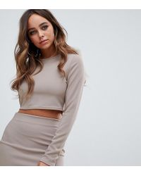 5af455344b94e Missguided Capped Sleeve Ribbed Crop Top Taupe in Brown - Lyst