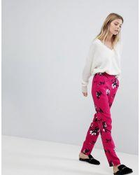 Vila - Floral Printed Pants - Lyst