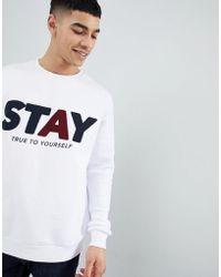 Bershka - Slogan Sweatshirt In White - Lyst