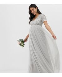 Maya Maternity - Bridesmaid V Neck Maxi Tulle Dress With Tonal Delicate Sequins In Soft Grey - Lyst