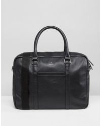 ASOS DESIGN - Leather Satchel In Black With Emboss - Lyst