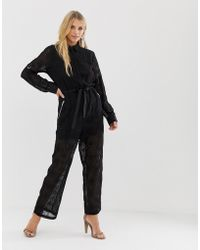 Religion - Sheer Jumpsuit In Broderie Anglaise - Lyst