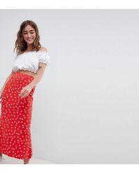 ASOS - Asos Design Petite Midi Skirt With Kickflare In Polka Dot - Lyst
