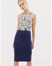 Chi Chi London - Midi Pencil Dress With Gold Embroidery In Navy - Lyst