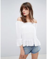 Minimum - Off The Shoulder Top With Fluted Sleeve - Lyst