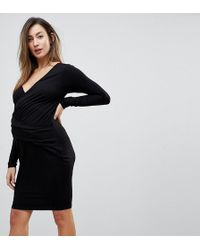 ASOS - Wrap Bodycon Dress With Ruching - Lyst