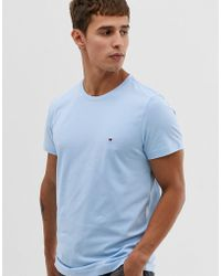 aa1d14997 Tommy Hilfiger - T-shirt With Pique Icon Flag Logo In Pastel Blue - Lyst