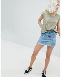 Pull&Bear - Frayed Edge Denim Mini Skirt - Lyst