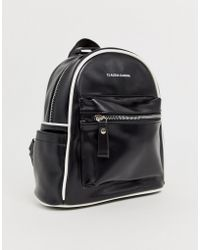 Claudia Canova - Mouvement Black Backpack With White Piping - Lyst