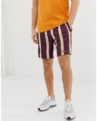 River Island - Shorts With Stripes In Burgundy - Lyst