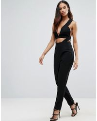 ASOS - Jumpsuit With Structured Cut Out Strap Bodice - Lyst