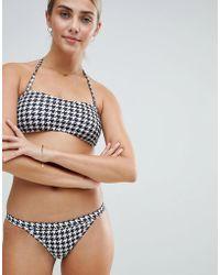 Playful Promises - Le Palm Basic Skimpy Tanga Bikini Bottoms In Houndstooth - Lyst
