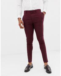 ASOS Wedding Super Skinny Suit Pants In Burgundy Micro Texture