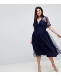 ASOS - Lace Top Midi Dress With Ruched Bodice - Lyst