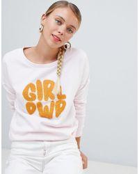 ONLY - Terry Girl Power Print Sweatshirt - Lyst