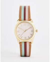ASOS - Watch With Colour Block Stripe Strap And Pink Face In Gold - Lyst
