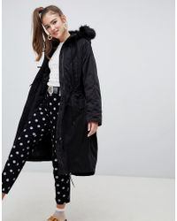 Monki - Hooded Parka Coat With Faux Fur Details - Lyst